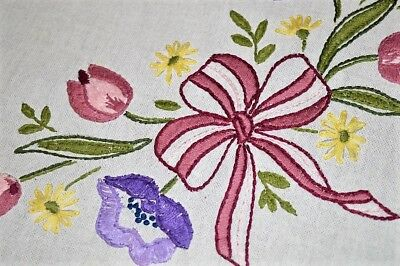 Spring Wreath Of Bold Tulip & Daisy Bouquets! Vtg German Hand Emb Tablecloth