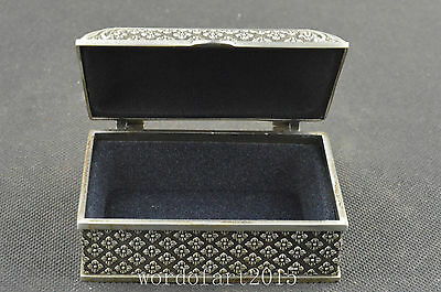 China collectible antique old miao silver handwork carved delicate jewel box