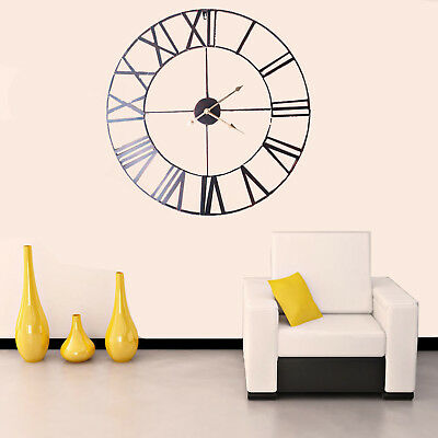 Roman Numeral Large Round Skeleton Modern Home Wall Clock Indoor/Garden 78cm