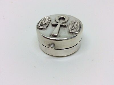 Fab Antique Vintage Egyptian Heavy Solid Silver pill Box/Snuff Box/Trinket Box