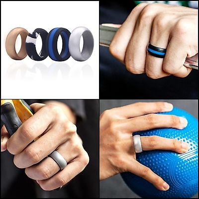 MEN Silicone Wedding Ring 4 PCS Engagement Band Flexfit Sport Outdoor Size 10