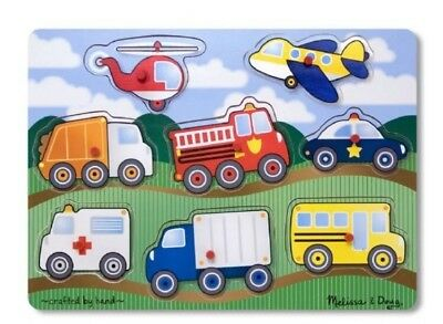 Melissa And Doug Vehicles Wooden Peg Puzzle #9051