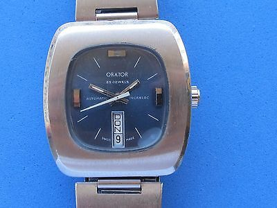 Vintage Orator Automatic Day Date Blue Dial Cal.eta 2789 Swiss Made