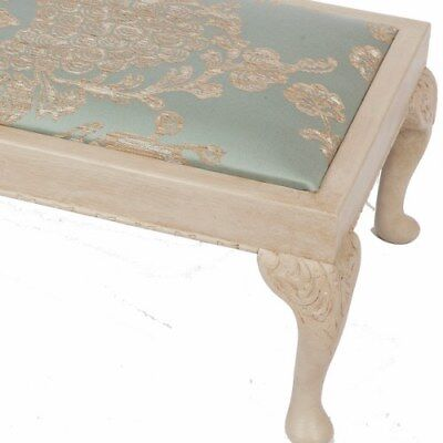 Edwardian Footstool-Duck Egg Blue & Gold Fabric with Antiqued Cream Paint Finish