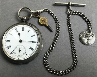 STUNNING Antique Victorian Solid Silver Albert Chain & French Pocket Watch 103g