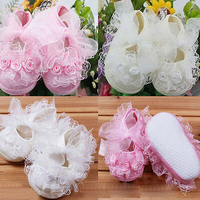 Baby Infant Toddler Girls Princess Non-Slip Lace Frilly .Flower Lovely Shoes .UK