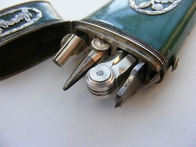 Antique Etui Silver Drawing Instrumnts in Shagreen & Silver Case