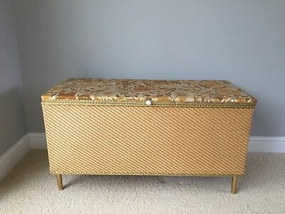 Vintage Lloyd loom style ottoman blanket/storage box good condition given age
