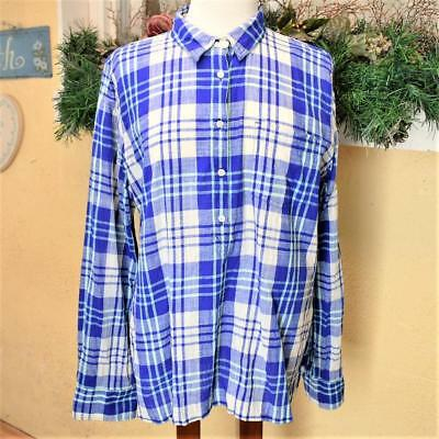 J Crew Womens XL Tunic Top Relaxed Madras Cotton Plaid LS Popover Buttons Thin