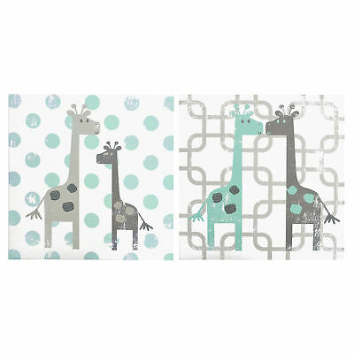 Uptown Giraffe 2 Piece Canvas Wall Art Decoration Whimsical by The Peanut Shell