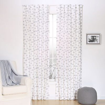 Grey Cloud Print Blackout Window Drapery Panels - Two 84 x 42 Inch Panels