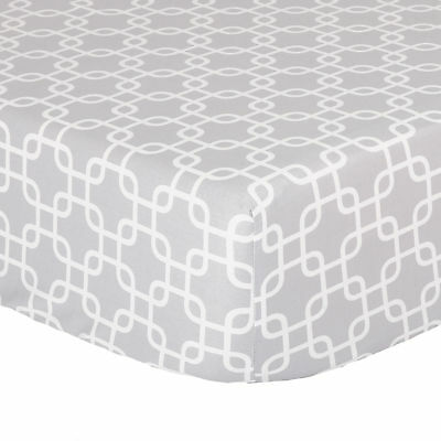 Grey Geometric Print 100% Cotton Sateen Fitted Crib Sheet by The Peanut Shell