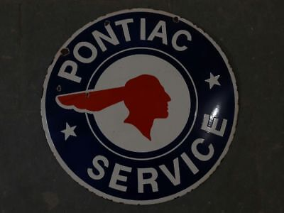 "Porcelain Pontiac Sales Service sign 24"" round 2 sided white border Sign"