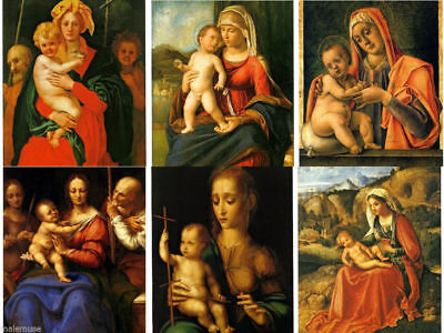 Madonna and Child Art Virgin Mother Mary Jesus John the Baptist 6 Postcard Lot