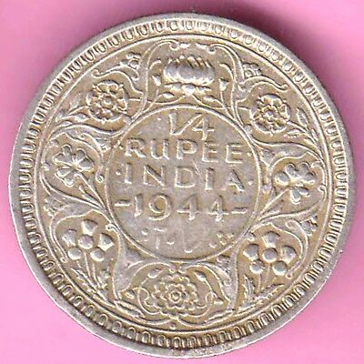 British India-1944-Bombay Mint-1/4 Rupee-King George 6-Rarest Silver Coin-21