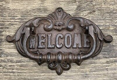 Cast Iron WELCOME Vintage Brown Door Knocker