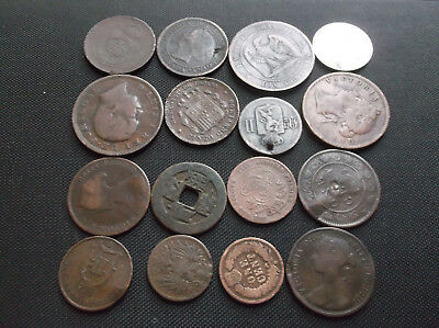 16 Old World Coins Lot 1800s World 16 Coins