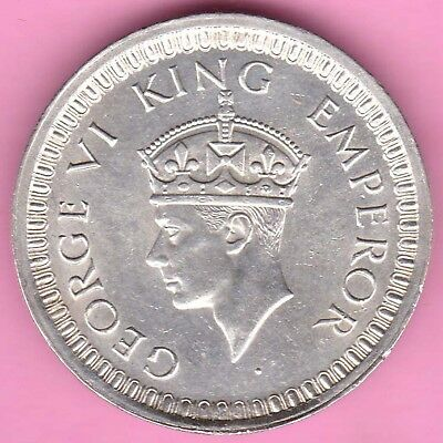 British India-1942-Bombay Mint-One Rupee-King George 6-Rarest Silver Coin-62