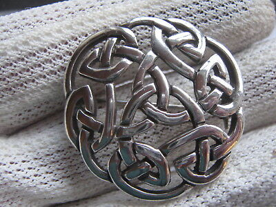 Signed Vintage Celtic Lands Sea Gems Sterling Silver Trilogy Knot Brooch