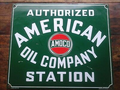 American Oil Company Authorized Station porcelain sign Amoco garage service can