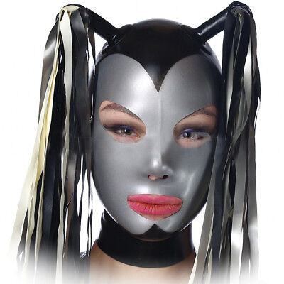 Latex mask with tails, gummy rubber hood (custom size and rear)