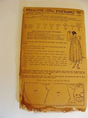 Antique  Peerless Ladies, Misses and Girls Evening Cape with Hood