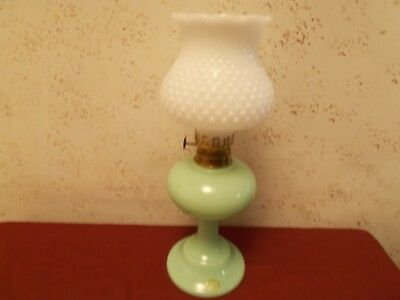 """Jadite Green Mosser 9"""" Oil Lamp Clean & Unused Aladdin with hobnail shade"""