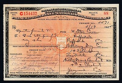 Prohibition Prescription Whiskey Antique Doctor Pharmacy Bar Ruffsdale PA 1925