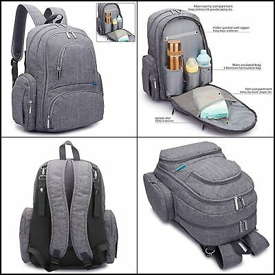 New Diaper Bag Backpack With Changing Pad Large Baby Accessories Travel Bag Grey