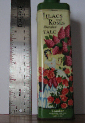 Vintage Lander LILACS and ROSES Blended TALC Powder Tin