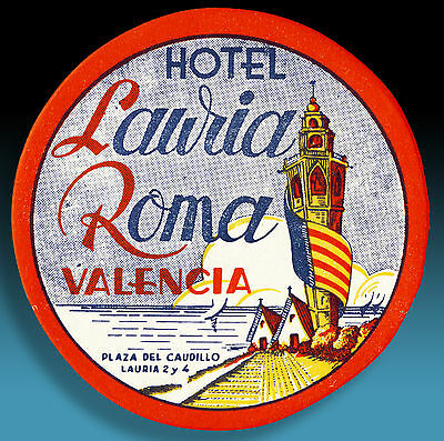 ALTER KOFFERAUFKLEBER HOTEL LAURIA ROMA VALENCIA | VINTAGE LUGGAGE LABEL 50er