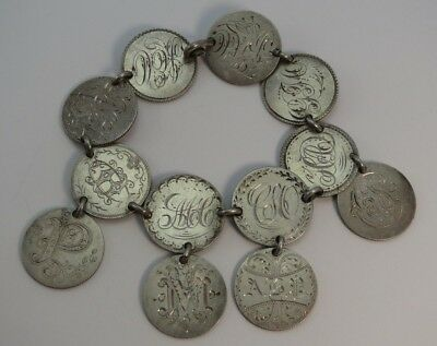 Antique 1870's Silver Coin LOVE TOKEN *Charm Bracelet* - 12 SEATED LIBERTY DIMES