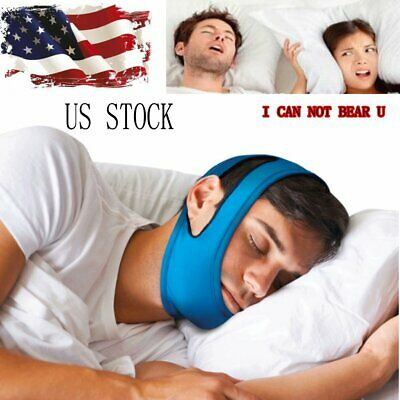 Snore Stop Belt Anti Snoring Cpap Chin Strap Sleep Apnea Jaw Solution TMJ BLUE