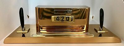 Art Deco Vintage Nr Mnt Electric Brass Mantle Clock And Fountain Pen Holder 4:20