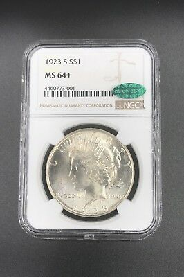 1923-S $1 Peace NGC MS64+ plus graded CAC Certified Silver Dollar
