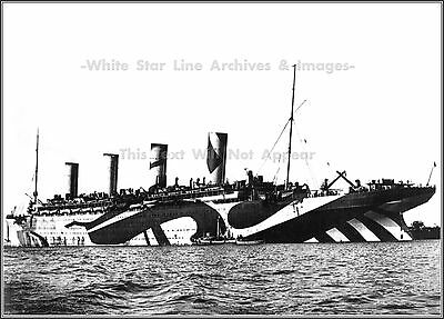 Photo: Rare View: RMS Olympic In 'Dazzle Camouflage' During WWI