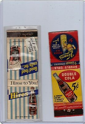 Very Old Soda Matchcovers Hires And Double Cola 5Cents Rare