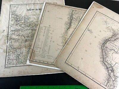 South America, Charles Fleming, 1840's 50's Antique Map Lot Patagonia Chile ect