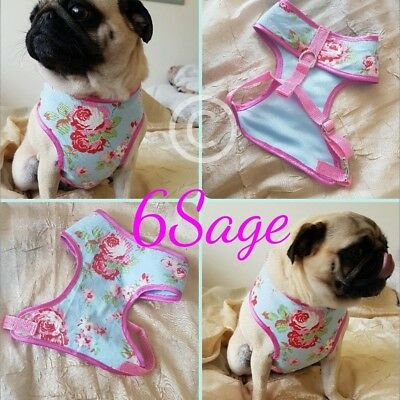Hand made Couture Dog Harness. Cath Kidston blue Rosali fabric.