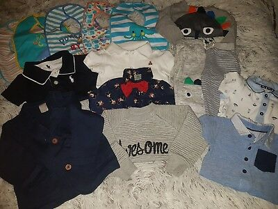 large bundle of baby boys clothes age 9-12 months