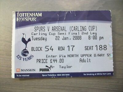 Tottenham Hotspur v Arsenal League Cup Semi 2007/08 - Used ticket