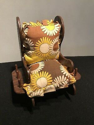 Vintage Sewing Caddy Pin Cushion Wooden Rocking Chair 6 Thread Spool Holder