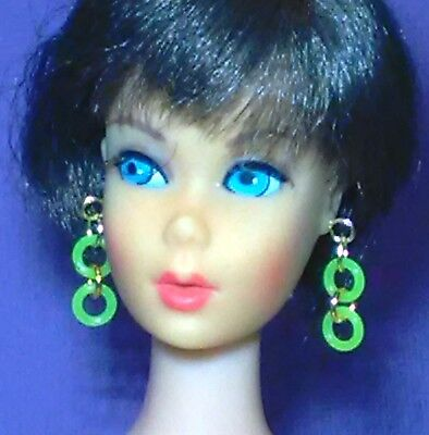 Barbie Dreamz NEON GREEN DOUBLE HOOPS Mod Hoop Earrings Doll Jewelry