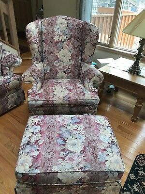 Wing chair and matching ottoman