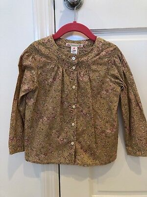 BONPOINT button down flowered Blouse Shirt. Girl Size 4. Made in Hungary