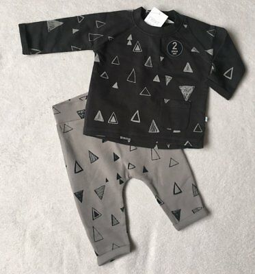 ***BNWT Next baby boys Grey printed top and joggers set 0-3 months***
