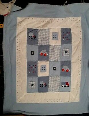 NEXT baby coverlet quilt duvet blanket or playmat. Light blue with vehicles