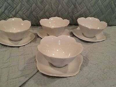 "4 Vintage White Porcelain 4 1/2"" Lotus Bowls and Saucers 4 1/2"" by Chadwick TAGS"