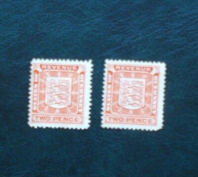 Guernsey, Two, Two Pence Revenue Stamps.