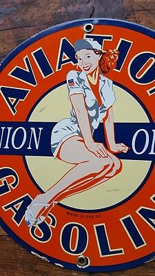 Union Aviation Pin Up Girl porcelain pump sign airplane Pilot Wing Nurse USA 59